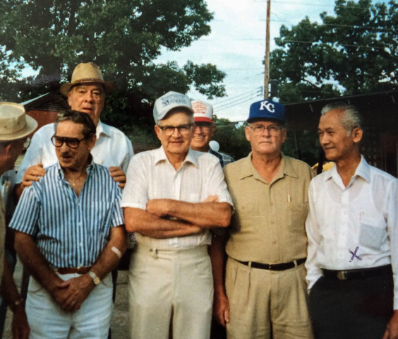 My dad (rightmost) with some of his American war buddies in Word War II during their reunion in Missouri sometime in 1985.